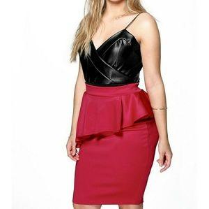 Plus Lucy Peplum Midi Skirt